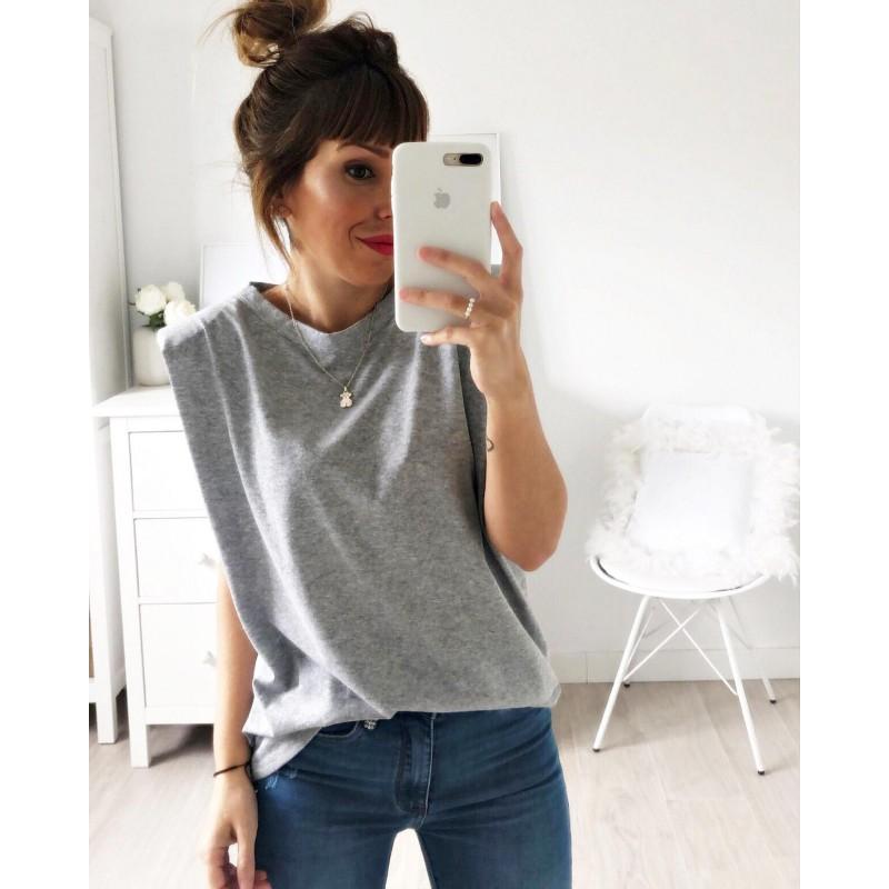 Camiseta hombreras gris