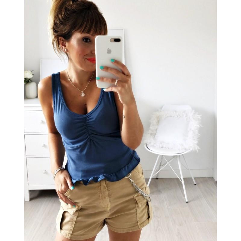 Camiseta tirantes volante azul
