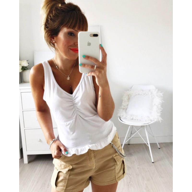 Camiseta tirantes volante blanca