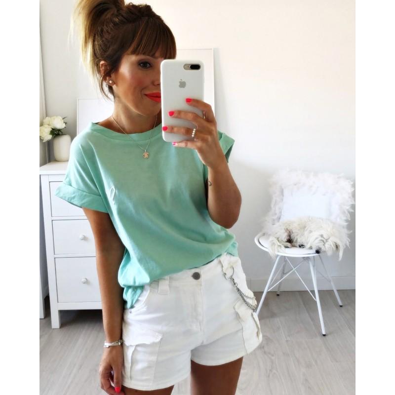 Camiseta corazón bordado aguamarina