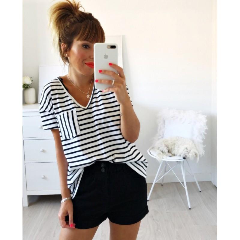 Camiseta bolsillo rayas negra