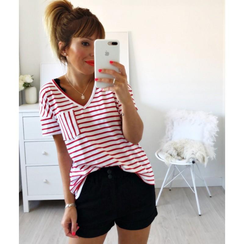 Camiseta bolsillo rayas roja