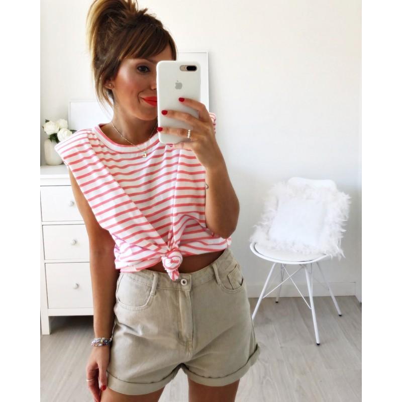 Camiseta hombreras rayas coral