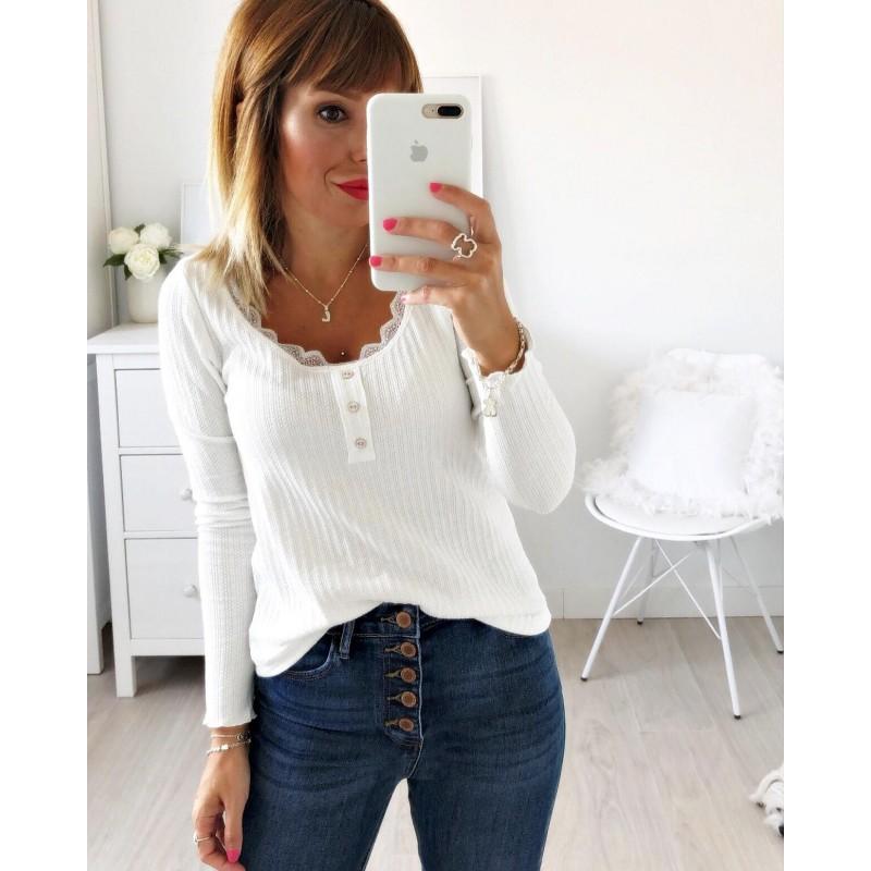 Camiseta puntilla blancs
