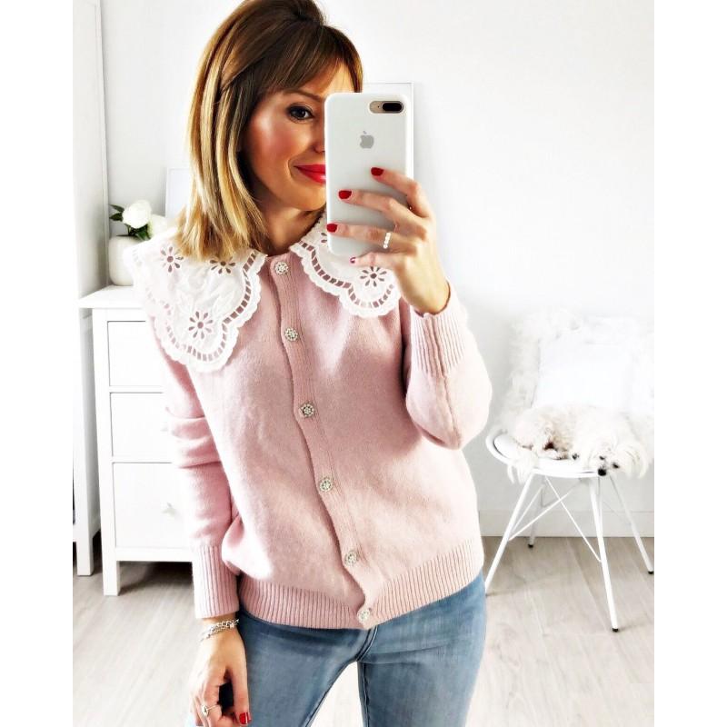 Chaqueta cuello perforado rosa