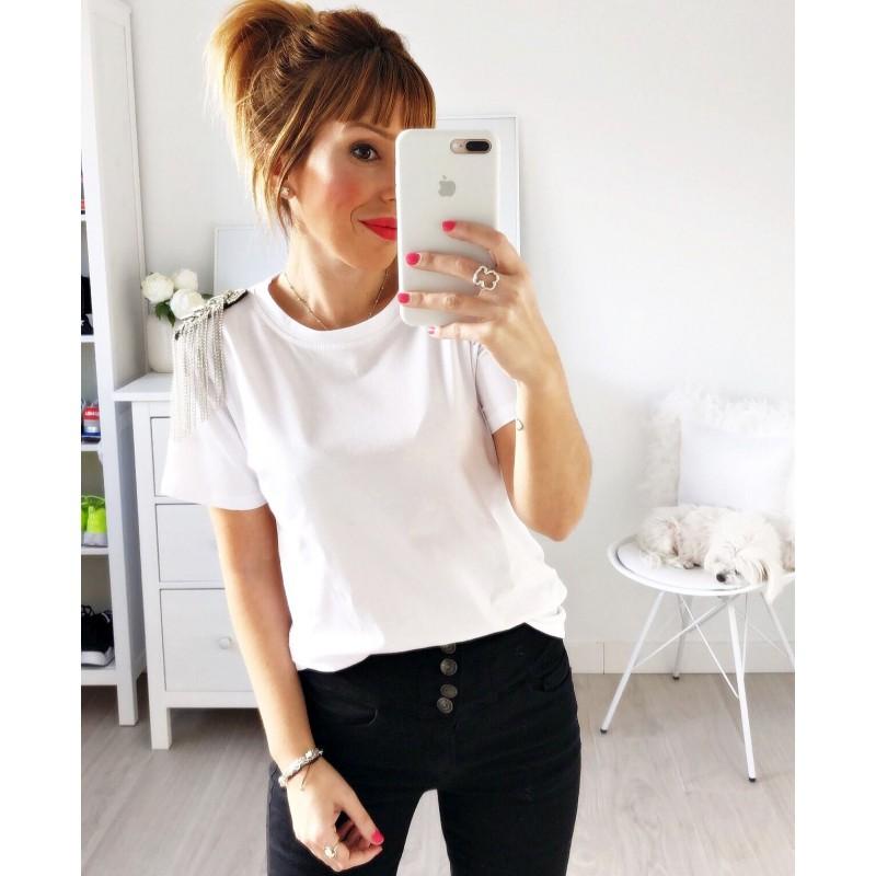 Camiseta hombros cadenas strass blanca