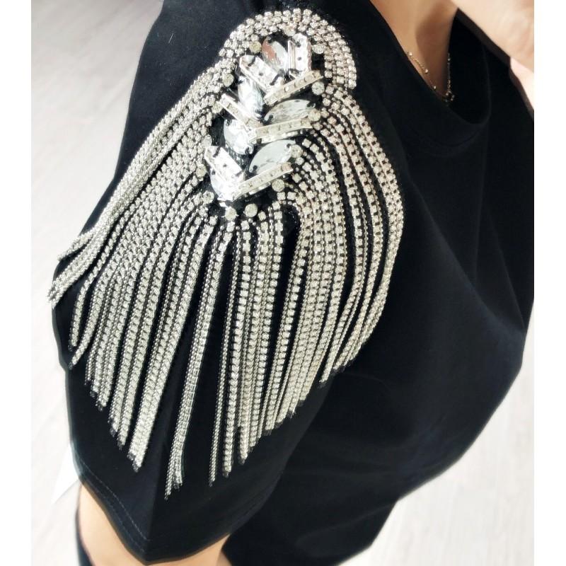 Camiseta hombros cadenas strass negra