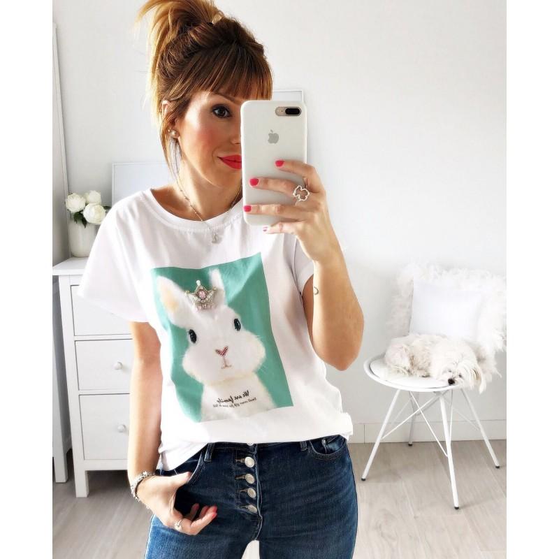 Camiseta conejo strass verde agua
