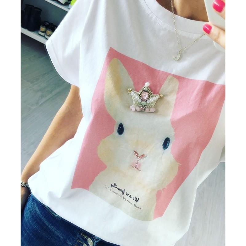Camiseta conejo strass rosa