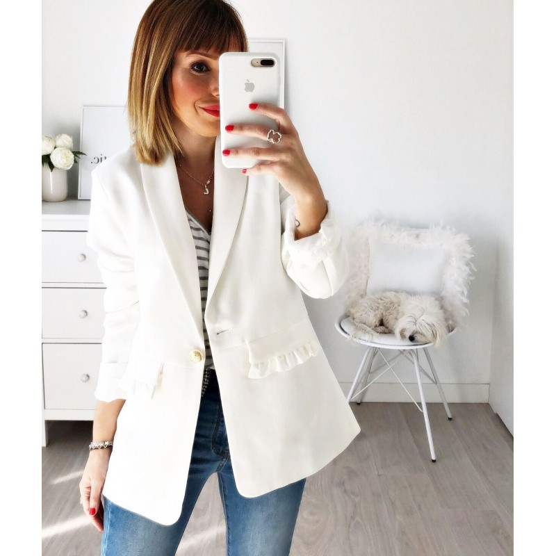 Blazer bolsillos blanca