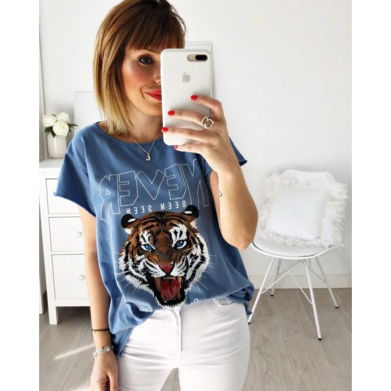 Camiseta tigre Never azul