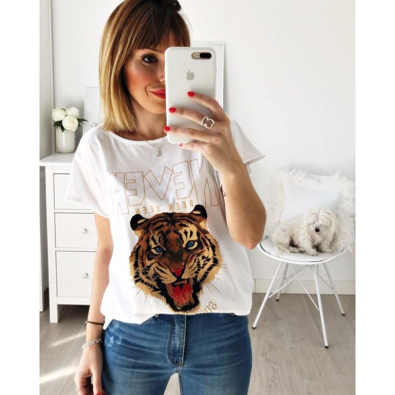 Camiseta tigre Never blanca