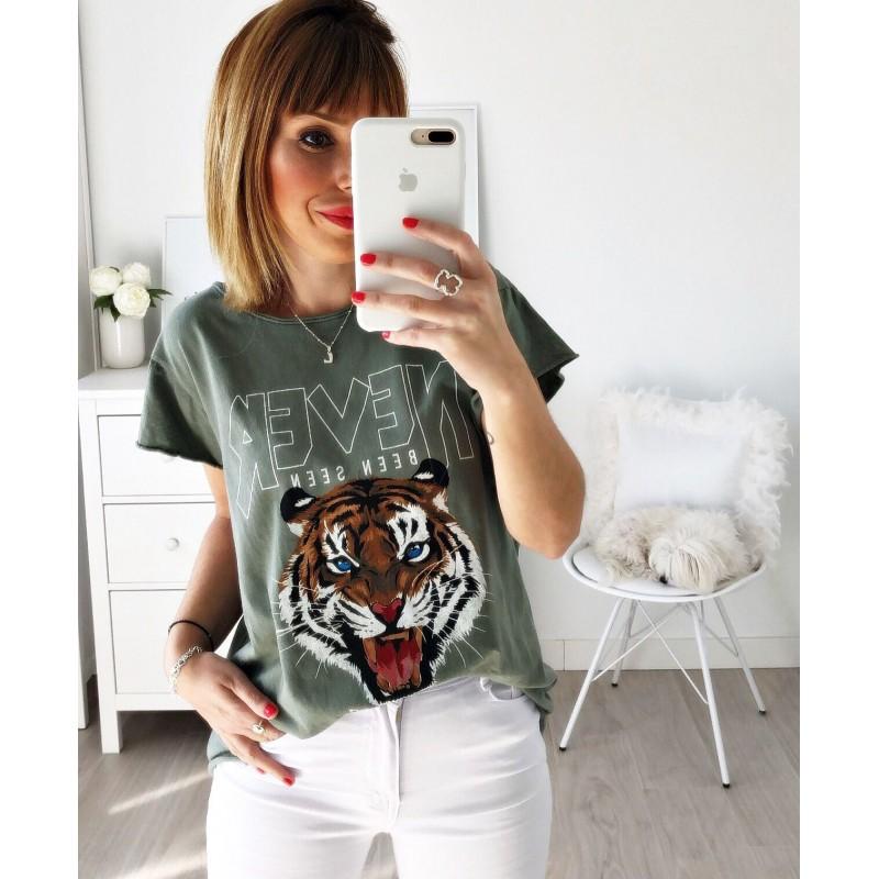 Camiseta tigre Never kaki