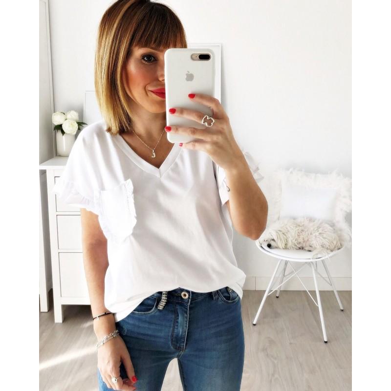 Camiseta pico bolsillo blanca