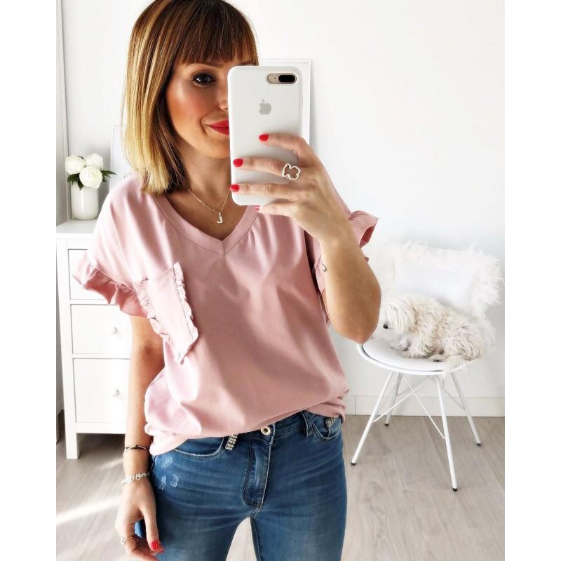 Camiseta pico bolsillo rosa