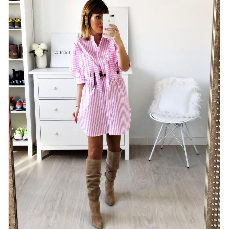 Vestido flecos rosa