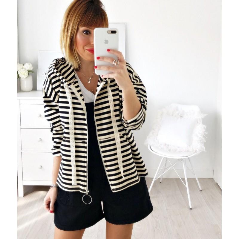 Sudadera capucha rayas negra/beige