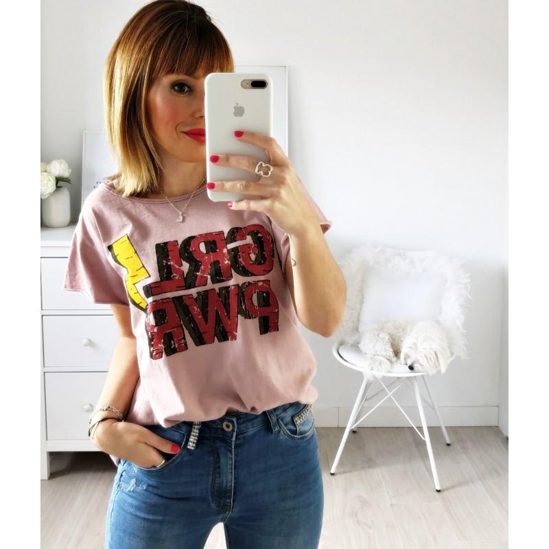 Camiseta Girl Power rosa