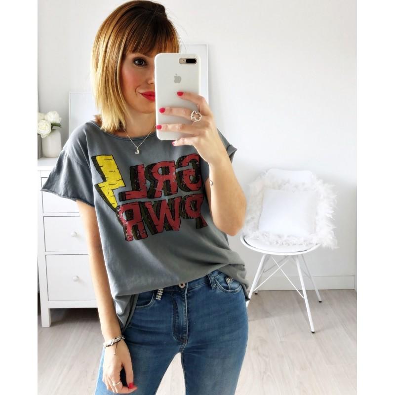 Camiseta Girl Power gris