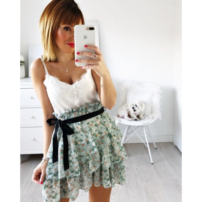 Falda flores lazada verde