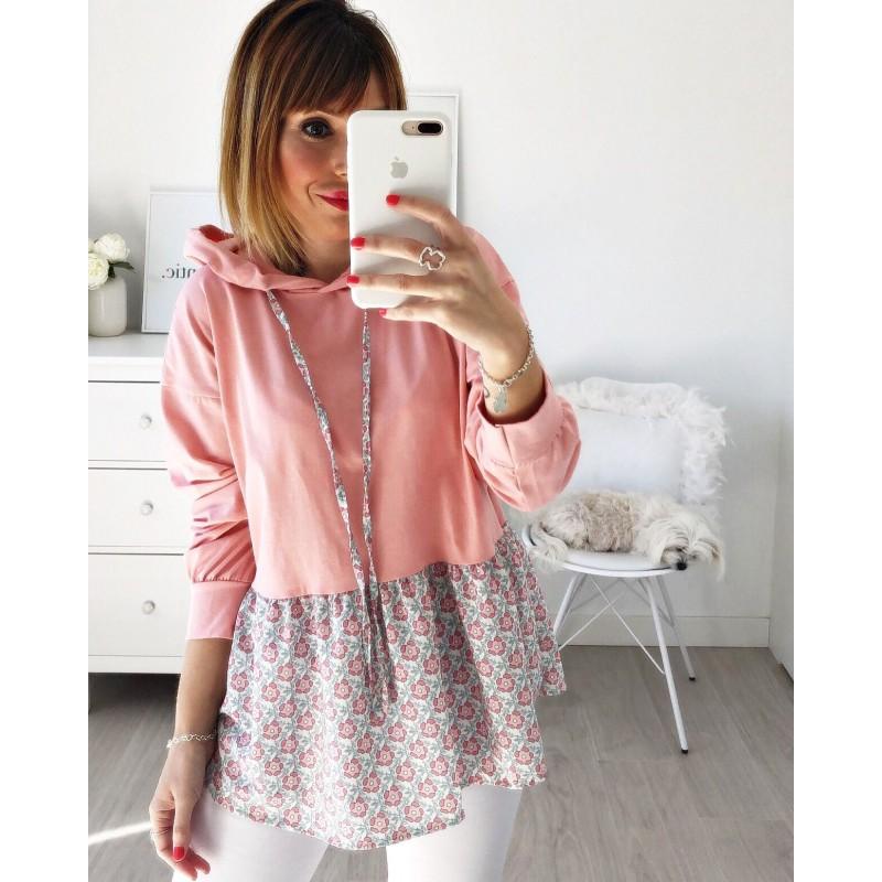 Camiseta capucha flores coral