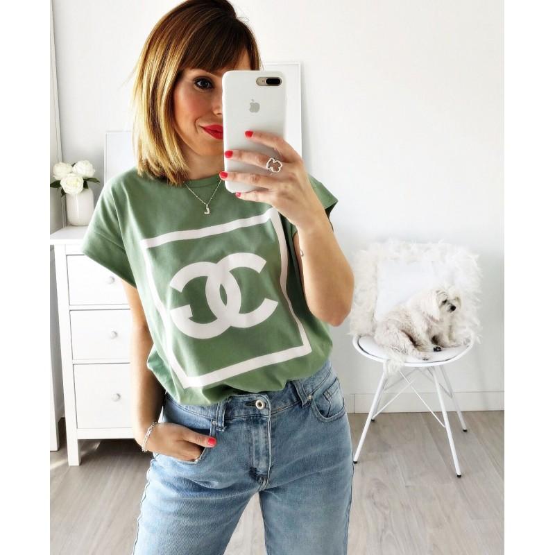 Camiseta letras verde