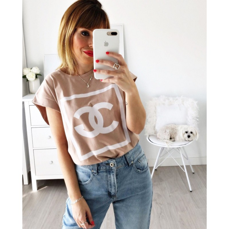 Camiseta letras maquillaje