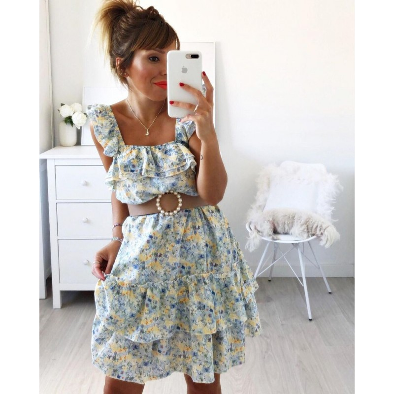 Vestido flores azul
