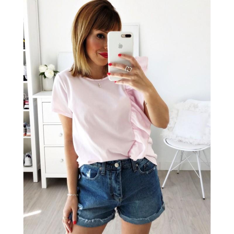Camiseta volante vertical rosa