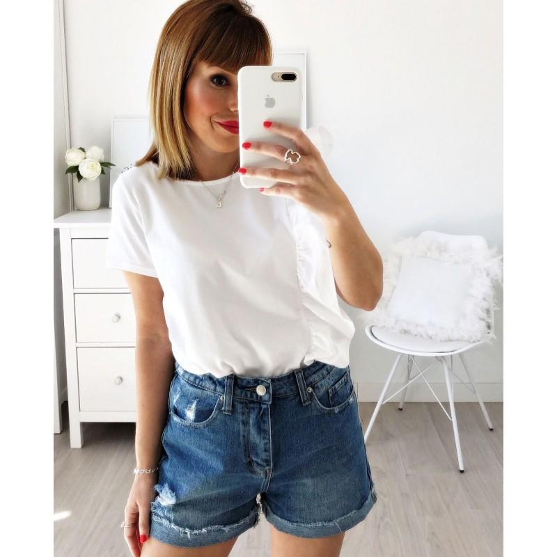 Camiseta volante vertical blanca