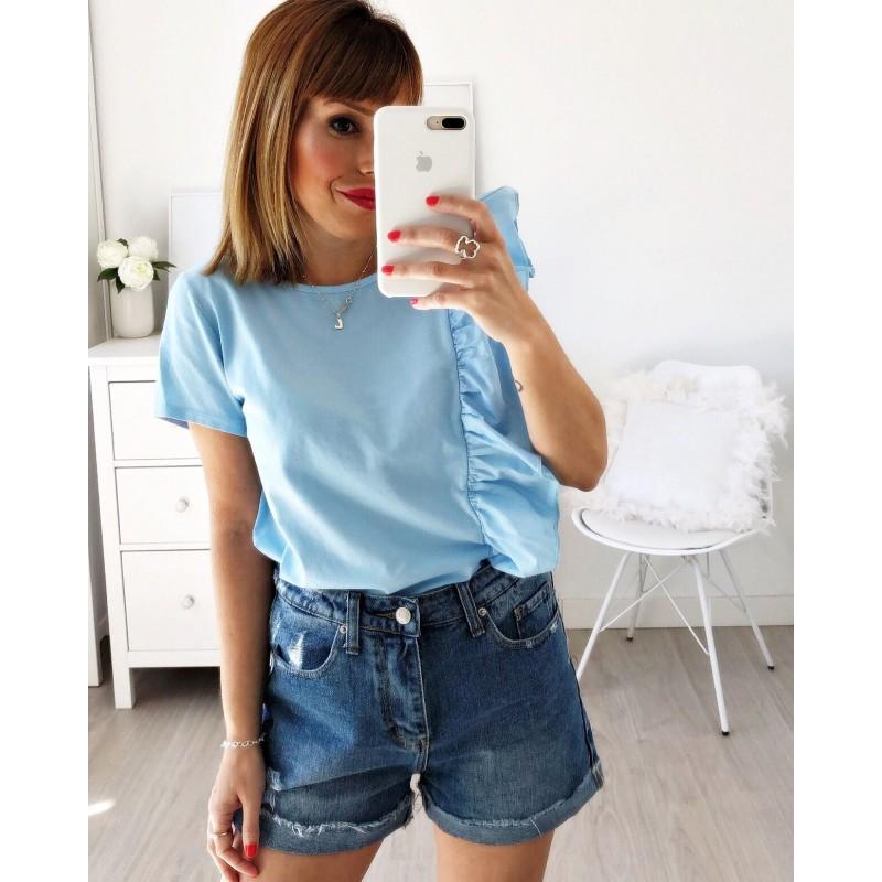 Camiseta volante vertical azul