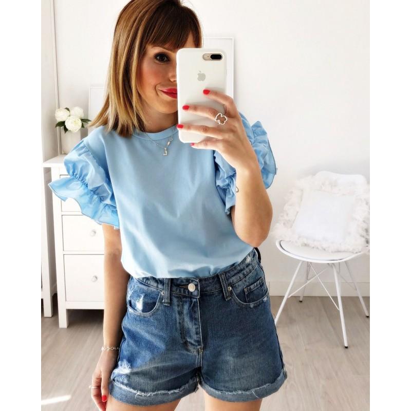 Camiseta manga fruncida azul