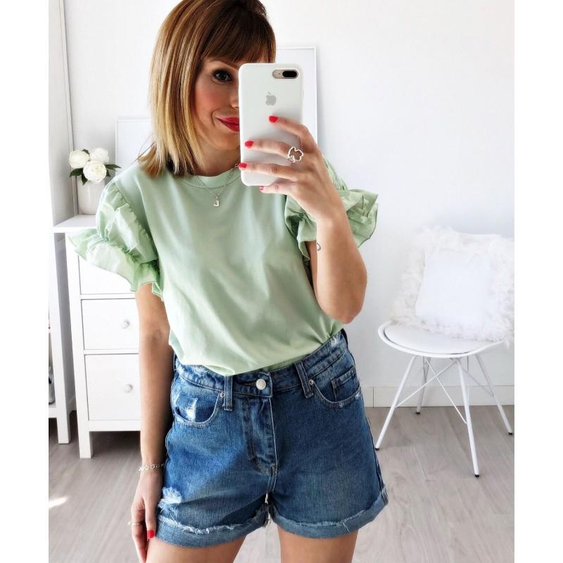 Camiseta manga fruncida verde